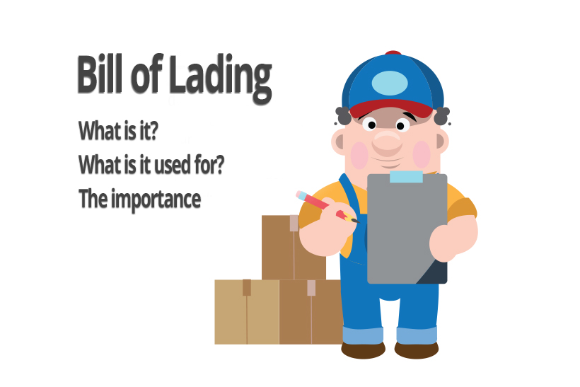 A graphics showing a worker with the bill of lading