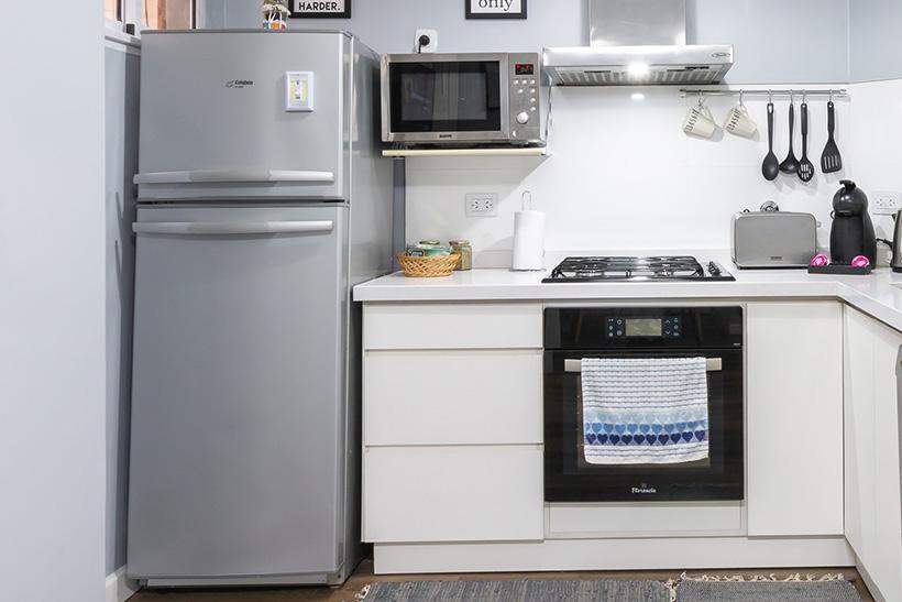 A fridge in a kitchen