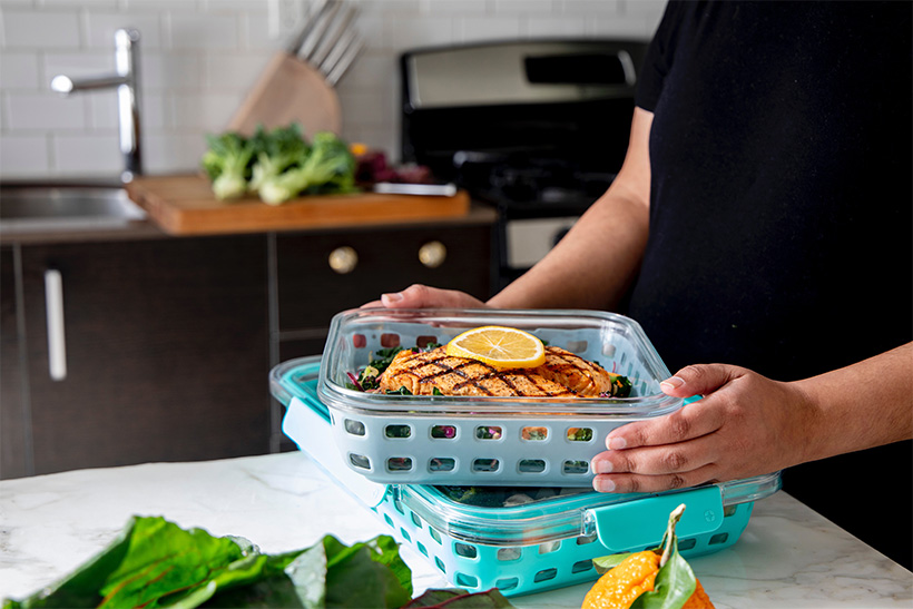 A Person Holds Tray With Food